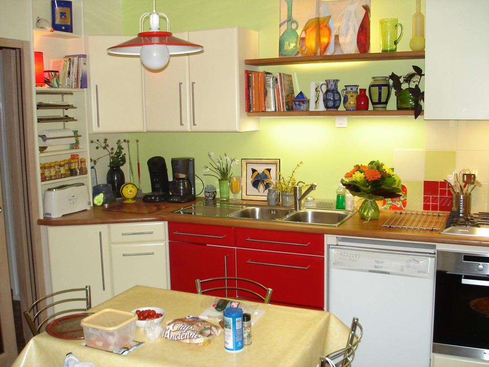 Cuisine beige laquee - Cuisine beige et rouge ...
