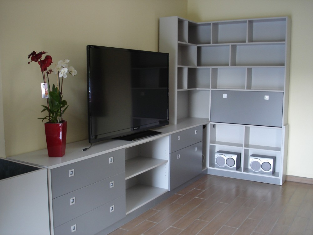 b2a meuble tv biblioth que d angle m lamin gris 1. Black Bedroom Furniture Sets. Home Design Ideas