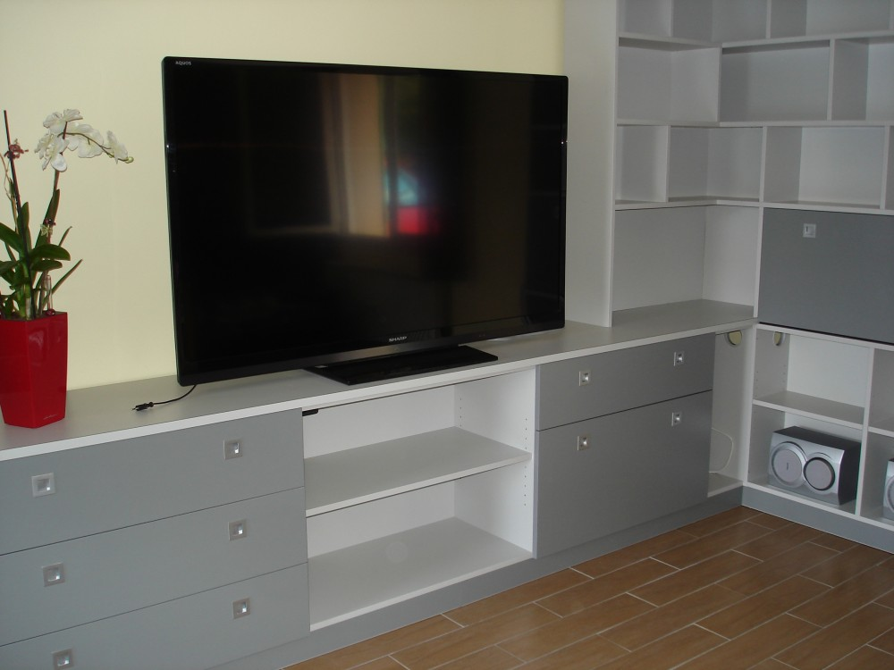 Cr ation de meubles tv et biblioth ques sur mesure b2a - Meuble tv angle gris ...